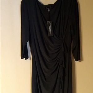 NWT Evan Picone little black ruched dress